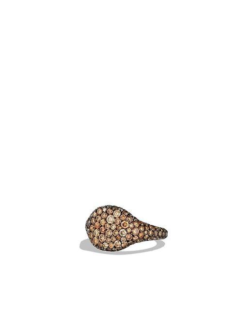 David Yurman   Brown Petite Pavé Pinky Ring With Cognac Diamonds In 18k White Gold   Lyst