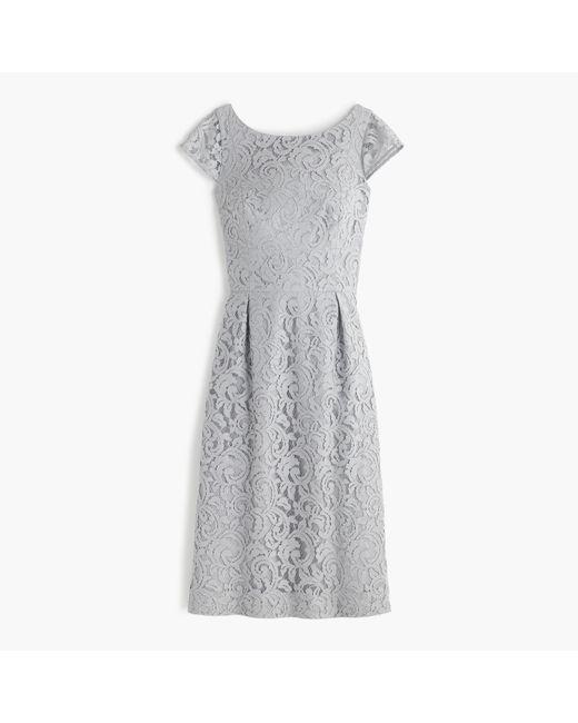 J.Crew   Gray Elsa Dress In Leavers Lace   Lyst
