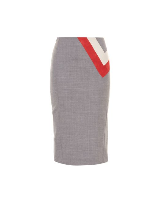 Altuzarra | Gray Dine Chevron-detail Pencil Skirt | Lyst
