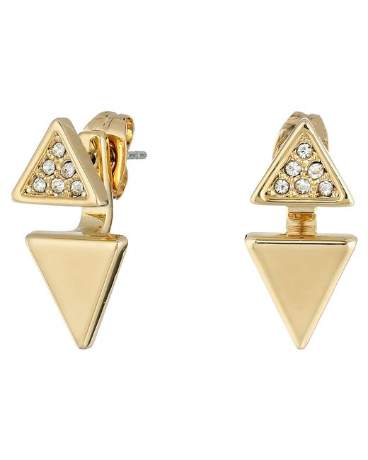 Rebecca Minkoff | Metallic Double Triangle Front To Back Earrings | Lyst