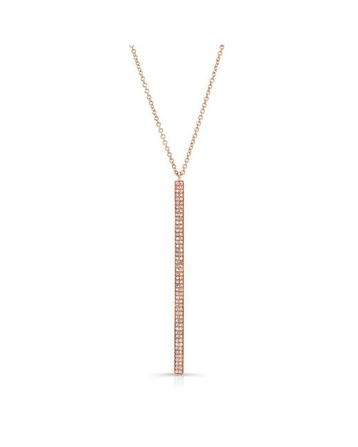 Anne Sisteron | Pink 14kt Rose Gold Diamond Beam Necklace | Lyst