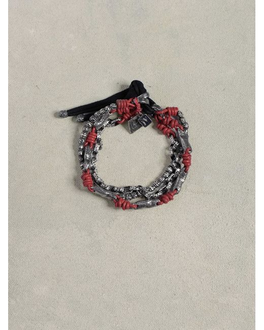 John Varvatos | Red Leather  Silver Mix Bracelet for Men | Lyst