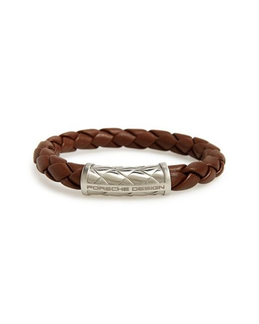 Porsche Design | Brown 'nexus' Woven Leather Bracelet for Men | Lyst