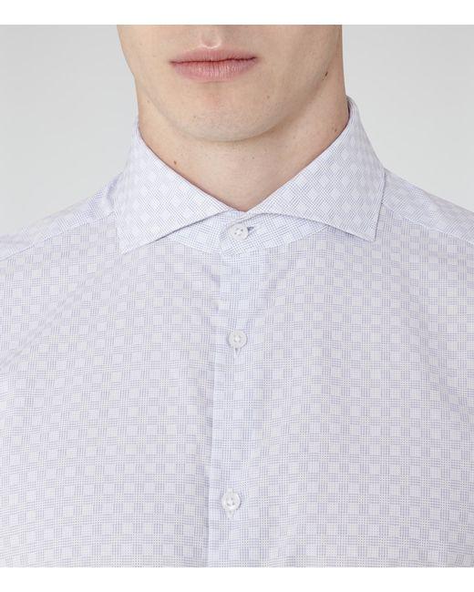 Reiss Cubit Cutaway Collar Check Shirt In Blue For Men