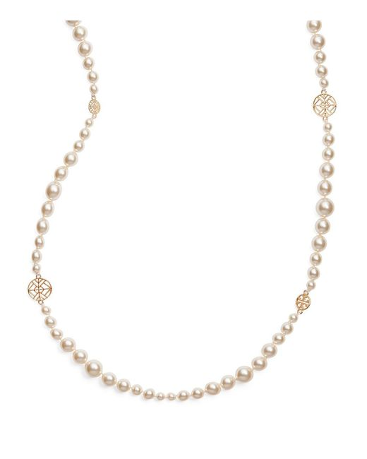 Tory Burch   White Crystal-pearl Long Necklace   Lyst