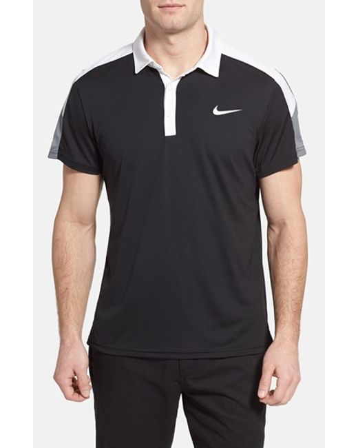 Nike | Black 'team Court' Dri-fit Tennis Polo for Men | Lyst