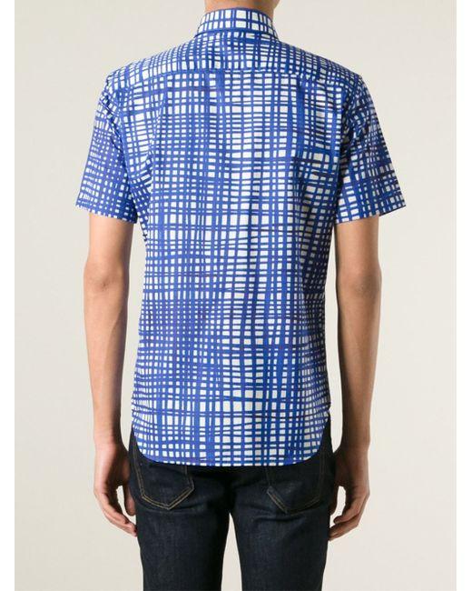 Burberry London Short Sleeve Shirt In Blue For Men Lyst