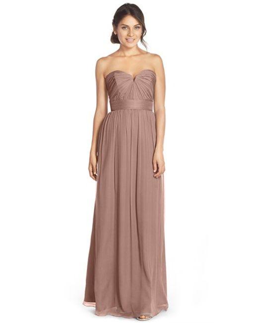 Amsale | Brown Strapless Silk Chiffon Gown | Lyst