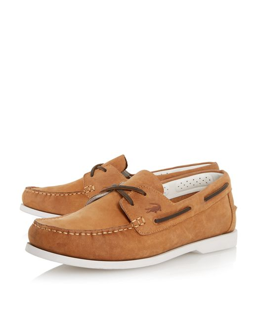 lacoste navire premium leather boat shoe in brown for