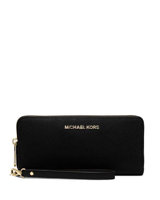 MICHAEL Michael Kors | Black Jet Set Leather Travel Wristlet | Lyst