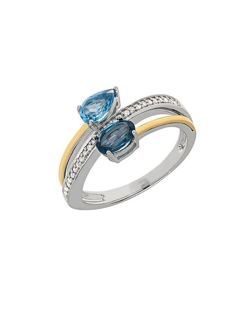 Lord & Taylor | Metallic Blue Topaz, Diamond, Sterling Silver And 14k Yellow Gold Swirl Ring | Lyst