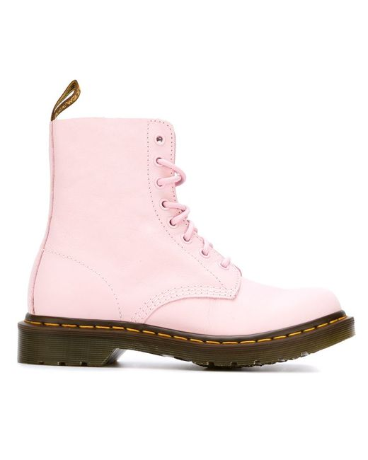 dr martens lace up ankle boots in pink pink purple