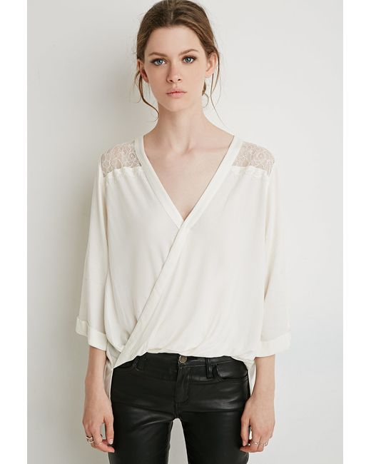 Forever 21 | Natural Eyelash Lace-paneled Twist Top | Lyst