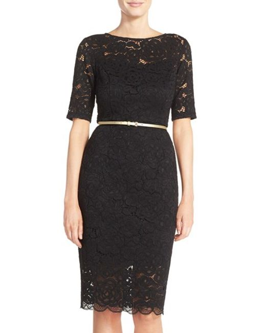 tracy belted lace sheath dress in black lyst