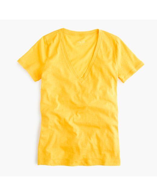 J.Crew | Yellow Vintage Cotton V-neck T-shirt | Lyst
