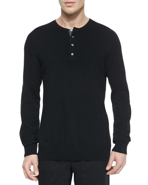 Vince cashmere long sleeve henley tee in black for men lyst for Black long sleeve henley shirt