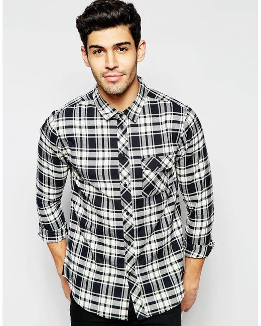 Another influence black and white flannel check shirt in for White flannel shirt mens