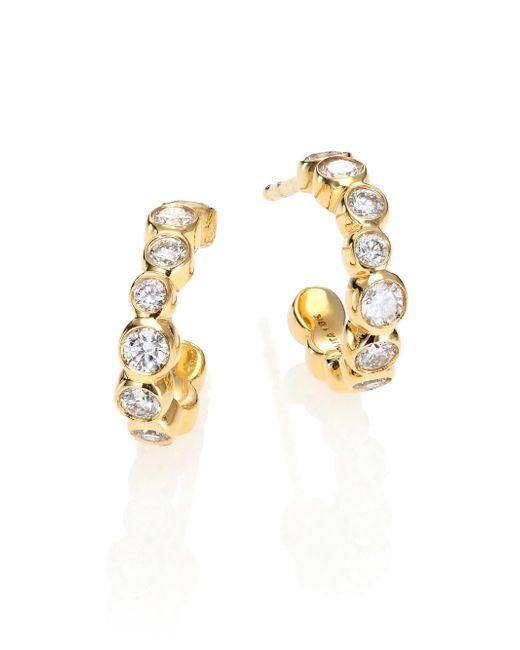 Ippolita | Metallic Glamazon Stardust Diamond & 18k Yellow Gold Bezel-set Hoop Earrings/0.5 | Lyst