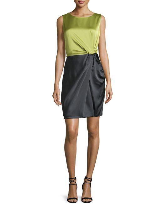Halston Heritage Sleeveless Colorblock Twist Front Dress