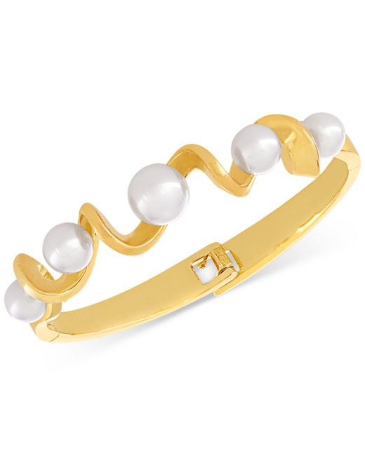 Majorica | Metallic Organic Man-made Pearl Twist Bangle Bracelet | Lyst