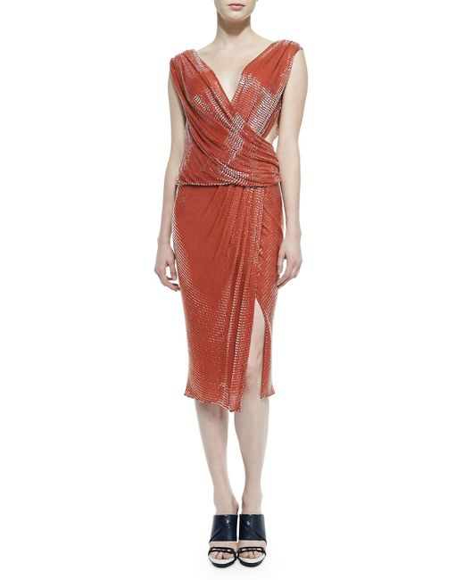 Jason Wu | Red Draped Sequin Crossover Dress | Lyst