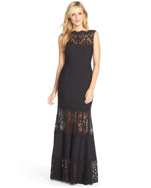 Tadashi Shoji | Black Illusion Lace Pintuck Jersey Gown | Lyst