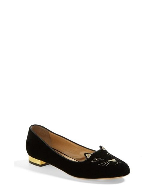 Charlotte Olympia | Black Kitty Embroidered Velvet Flats | Lyst