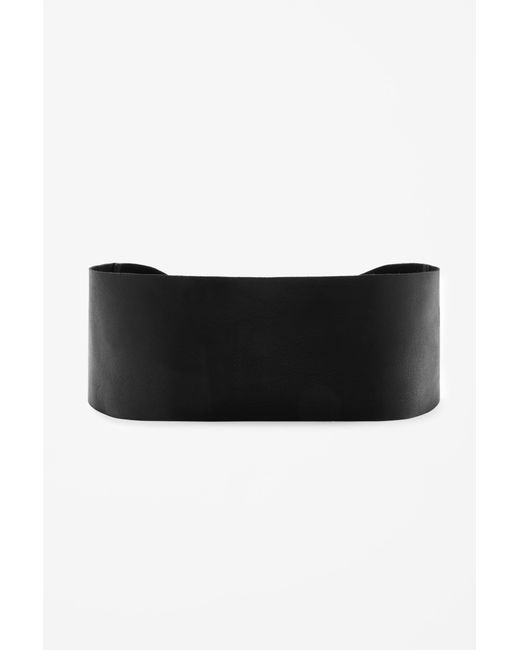 cos wide tie up leather belt in black lyst
