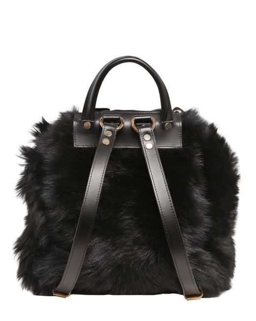 Giuseppe Zanotti Faux Fur Backpack With Suede Details In