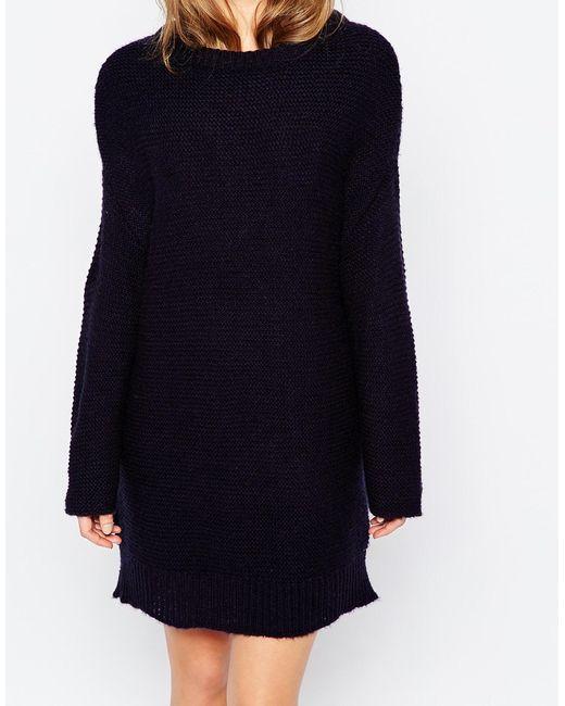 Asos Oversized Jumper Dress In Chunky Knit in Blue (Navy) Lyst