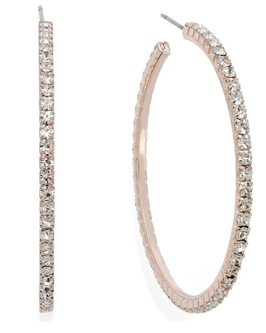 INC International Concepts | Pink Rose Gold-tone Crystal Pavé Hoop Earrings | Lyst