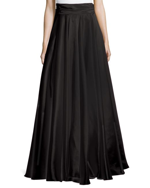 milly bow back silk maxi skirt in black save 66 lyst