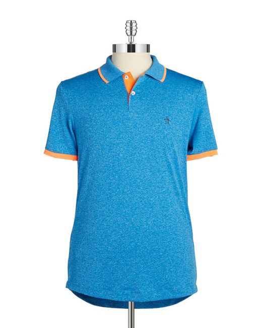 Original Penguin | Blue Heathered Performance Polo for Men | Lyst