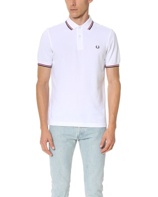 Fred Perry | White Slim Fit Twin Tipped Shirt for Men | Lyst