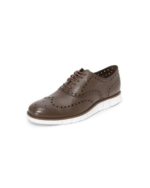 cole haan zerogrand wingtip oxford shoes in white for