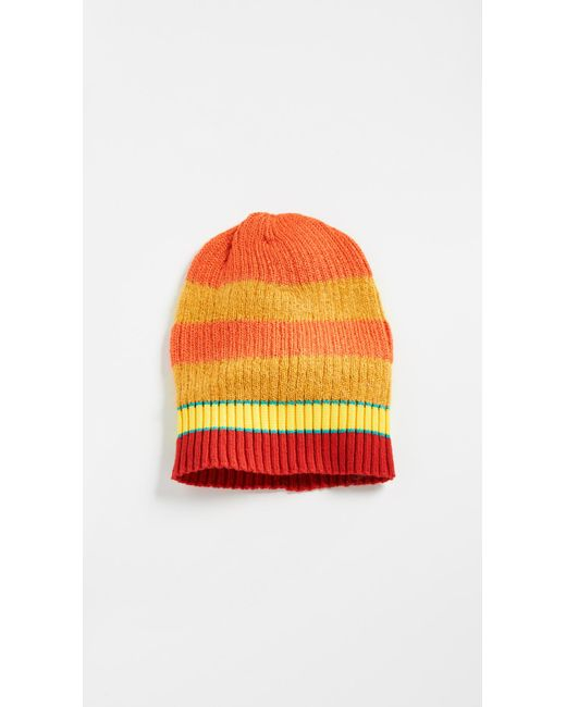 9f59ee735eb KENZO - Orange Stripy Cable Wool Beanie for Men - Lyst ...