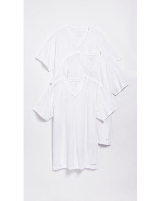 Calvin Klein White 3 Pack Classic Regular Fit V-neck Tee for men