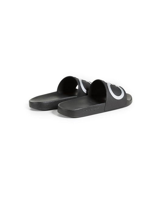 2e8c00388410 ... Ferragamo - Black Gancini Rubber Pool Slides for Men - Lyst ...