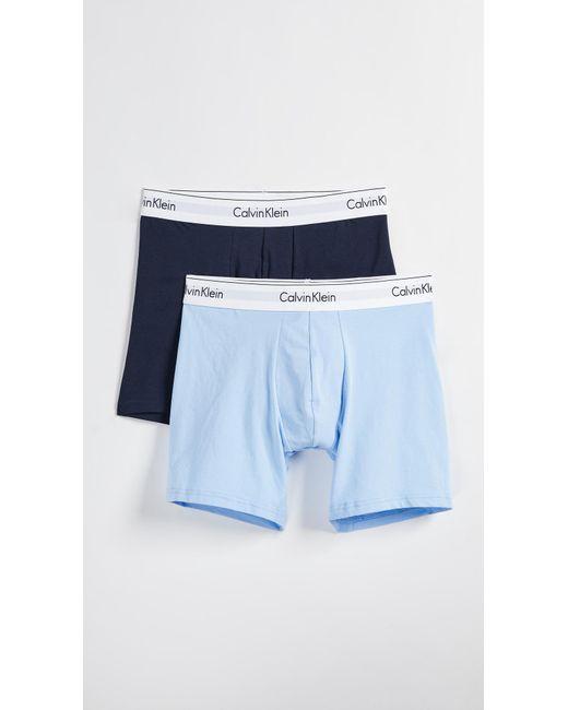 923c4406422e Calvin Klein - Blue Modern Cotton Stretch 2 Pack Boxer Briefs for Men - Lyst  ...