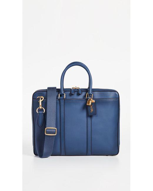 cf2e42d2bee1 COACH - Blue Metropolitan Slim Briefcase for Men - Lyst ...