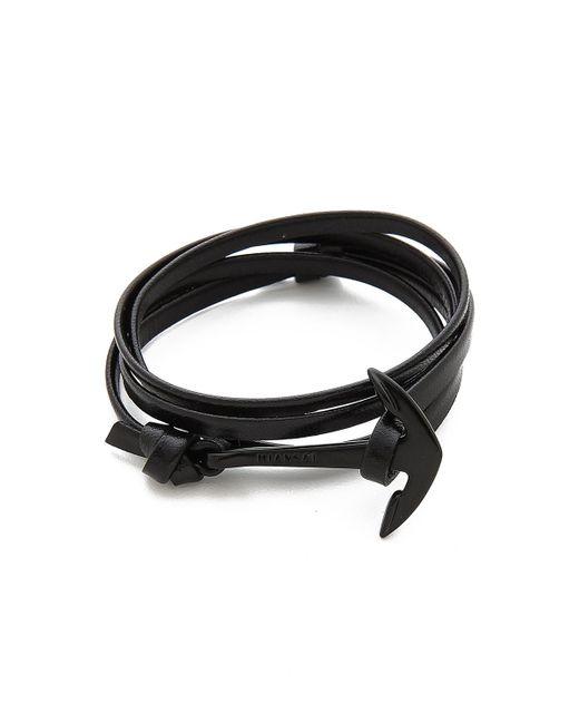 Miansai   Black Anchor Leather Wrap Bracelet for Men   Lyst