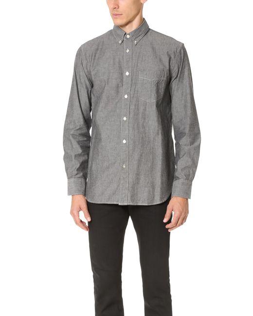 Rag & Bone - Gray Standard Issue Chambray Shirt for Men - Lyst