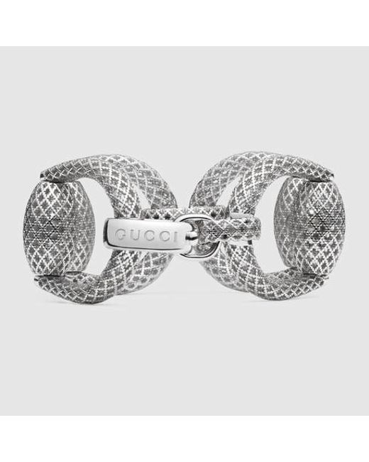 Gucci | Metallic Horsebit Bracelet In Silver | Lyst