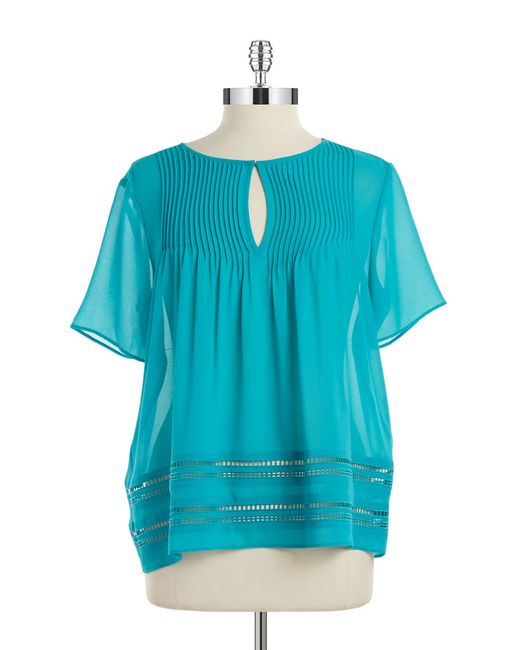 MICHAEL Michael Kors | Blue Sheer Pleated Blouse | Lyst