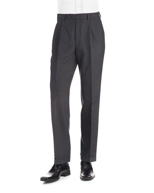 Lauren by Ralph Lauren | Gray Mid-weight Pleated Wool Trouser Pants for Men | Lyst