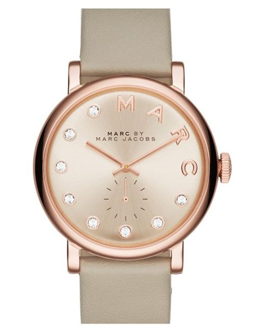 Marc Jacobs | Metallic 'baker' Crystal Index Leather Strap Watch | Lyst