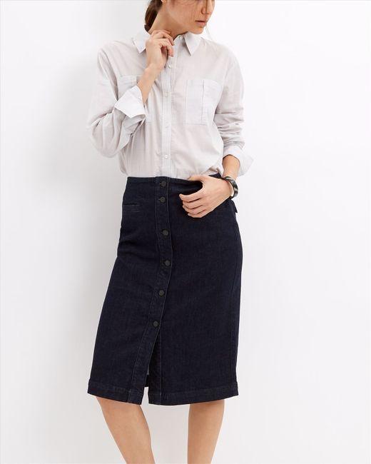 jaeger denim button through skirt in blue lyst