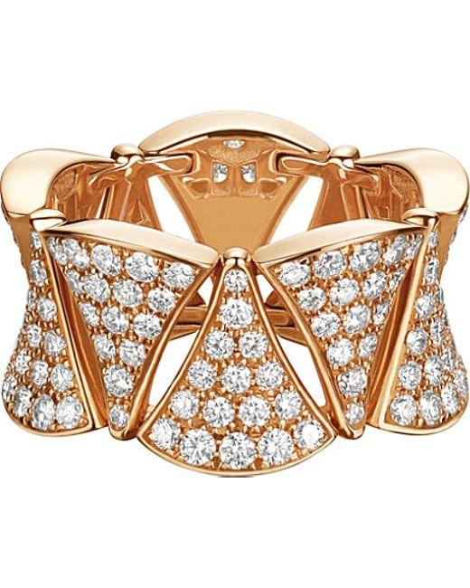 BVLGARI | Metallic Divas' Dream Ring 18kt Pink-gold And Diamond Ring | Lyst