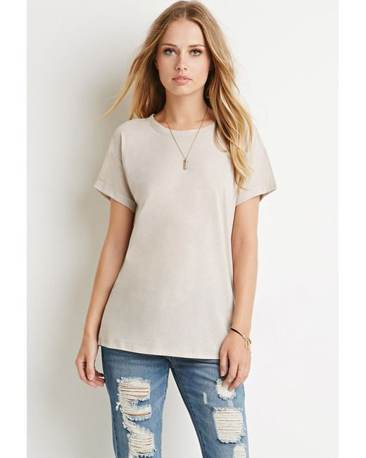 Forever 21 | Natural Cutout-back Tee | Lyst