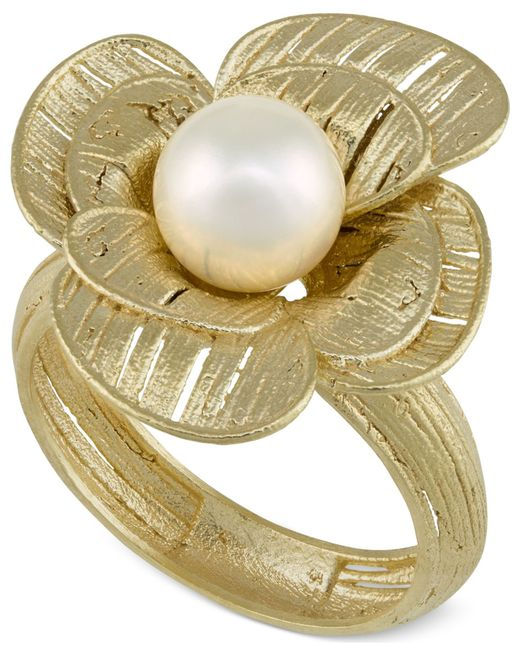 Macy's | Multicolor Cultured Freshwater Pearl Flower Ring In 18k Gold Over Sterling Silver (7mm) | Lyst